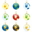 Christmas bulbs with world globe layout - Stock Vector
