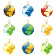 Christmas bulbs with world globe layout — Stock Vector