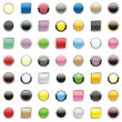 Square and round buttons — Stock Vector