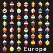 Royalty-Free Stock Vector Image: European flags in christmas bulbs shape