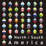 American flags in christmas bulbs shape — Stock Vector