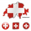 Switzerland in map and web buttons shape — Stock Vector