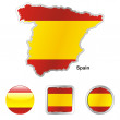 Spain in map and web buttons shapes — Stock Vector