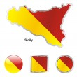 Sicily in map and web buttons shapes — Stock Vector