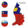 Liechtenstein in map and web buttons sha — Stock Vector