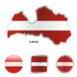 Latvia in map and web buttons shapes — Stock Vector