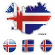 Iceland in map and web buttons shapes — Stock Vector