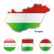 Hungary in map and web buttons shapes — Stock Vector