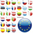 Flags of EU in web button shape - Grafika wektorowa