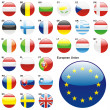 Flags of EU in web button shape - Stock Vector