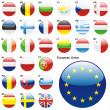 Flags of EU in web button shape — Stock Vector