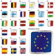 Flags of EU in web button shape — Stock vektor