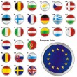 Flags of EU in web button shape — Stock Vector