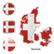 Denmark in map and web buttons shapes — Stock Vector