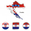 Croatia in map and web buttons shapes — Stock Vector