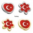 Turkey flag in heart and flower shape — Stock Vector