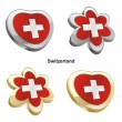 Switzerland flag in heart and flower sha - Stock Vector