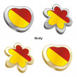 Sicily flag in heart and flower shape — Stockvektor