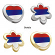 Serbia flag in heart and flower shape — Stock Vector