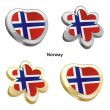 Norway flag in heart and flower shape — Stockvektor