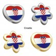 Croatia flag in heart and flower shape - Stock Vector