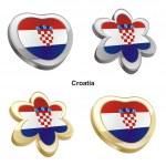 Croatia flag in heart and flower shape — Stock Vector