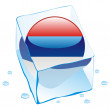 Serbia button flag frozen in ice cube — Stock Vector