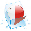 Malta button flag frozen in ice cube — Stock Vector