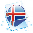 Iceland button flag frozen in ice cube — Stock Vector