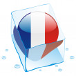 France button flag frozen in ice cube - Stockvektor