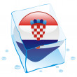 Croatia button flag frozen in ice cube - 图库矢量图片