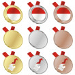 Monaco vector flag in medal shapes — Stock Vector