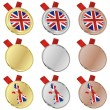 Great britain vector flag in medal shape — Stock Vector