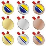 Bosnia and Herzegovina flag medals — Stock Vector