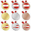 Austria vector flag in medal shapes — Image vectorielle