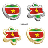Suriname flag in heart and flower shape — Stock Vector