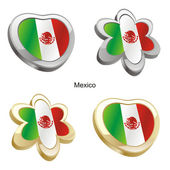 Mexico flag in heart and flower shape — Stock Vector