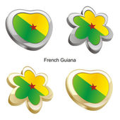 French guiana flag in heart and flower — Stock Vector