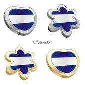 El salvador flag in heart and flower — Stock Vector