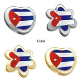 Cuba flag in heart and flower shape — Stok Vektör