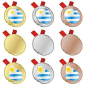 Uruguay vector flag in medal shapes — 图库矢量图片