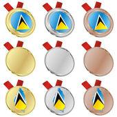 圣卢西亚矢量标志在奖牌形状 — 图库矢量图片