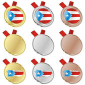 Puerto rico vector flag in medal — Wektor stockowy