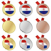 Paraguay vector flag in medal shapes — Wektor stockowy
