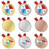 Panama vector flag in medal shapes — 图库矢量图片