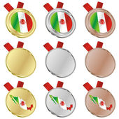 Mexico vector flag in medal shapes — Stock vektor