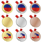 Haiti vector flag in medal shapes — Vetorial Stock