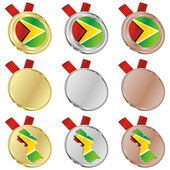 Guyana vector flag in medal shapes — Stok Vektör