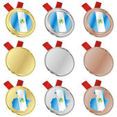 Guatemala vector flag in medal shapes — Stockvektor