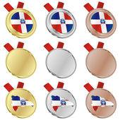 Flaga wektor dominikana w medal — Wektor stockowy